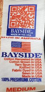 Bayside T shirt label